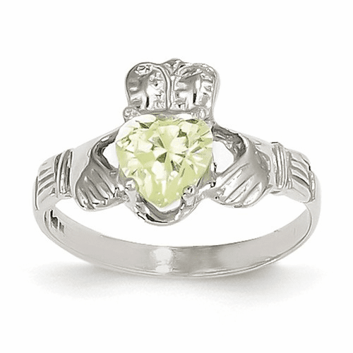 14k White Gold August Birthstone Claddagh Ring R506