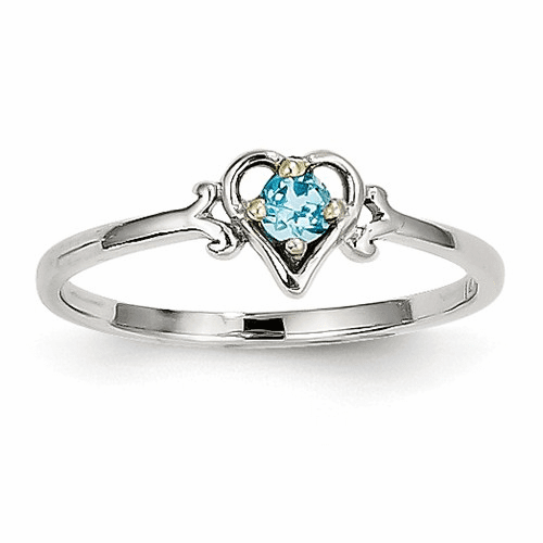 14k White Gold Blue Topaz Birthstone Heart Ring Yc423