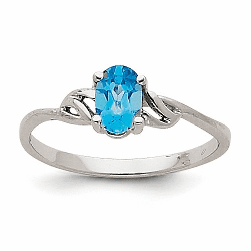 14k White Gold Blue Topaz Birthstone Ring Xbr153