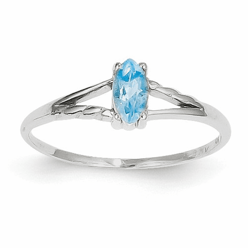 14k White Gold Blue Topaz Birthstone Ring Xbr201