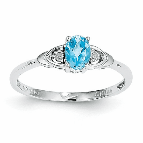 14k White Gold Blue Topaz Diamond Ring Xbs249