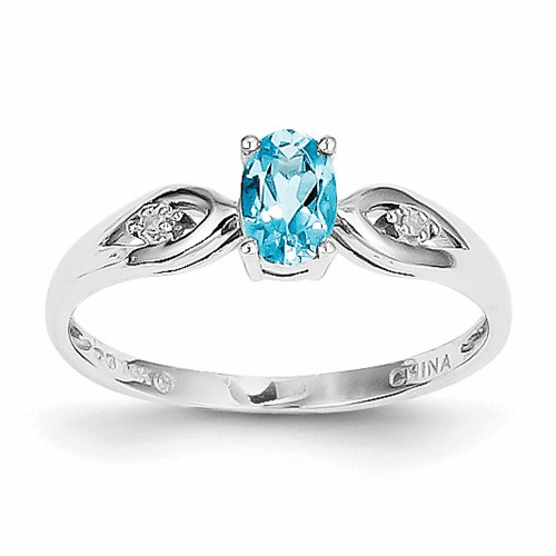 14k White Gold Blue Topaz Diamond Ring Xbs321