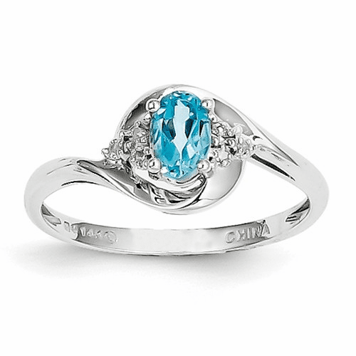 14k White Gold Blue Topaz Diamond Ring Xbs393