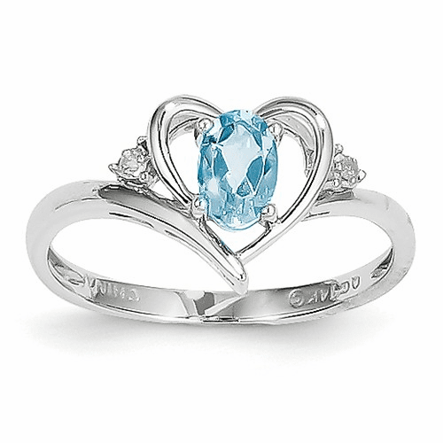 14k White Gold Blue Topaz Diamond Ring Xbs465