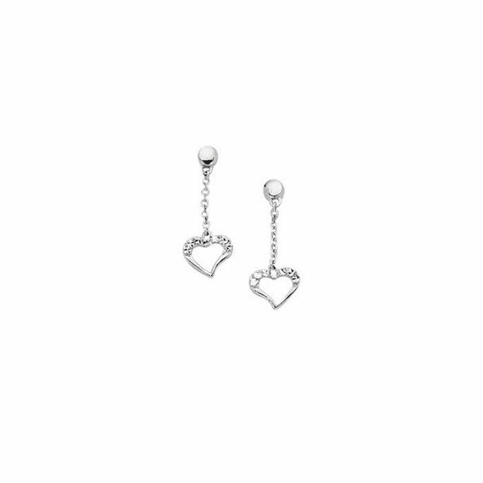14K White Gold Cable Chain Link with Small Drop Open Heart Earring