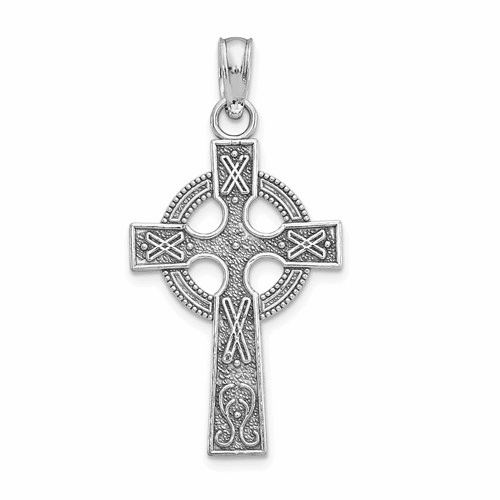 14k White Gold Celtic Cross Pendant K2131