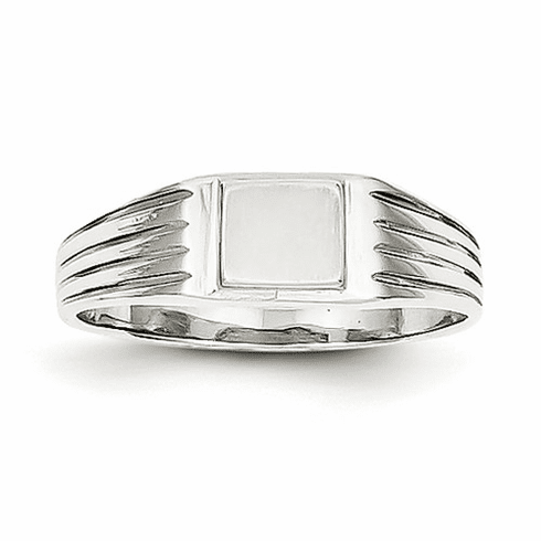 14k White Gold Childs Signet Ring D1876