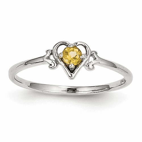 14k White Gold Citrine Birthstone Heart Ring Yc422