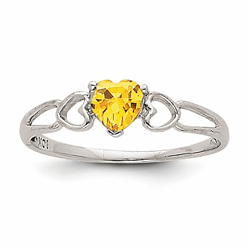14k White Gold Citrine Birthstone Ring Xbr176