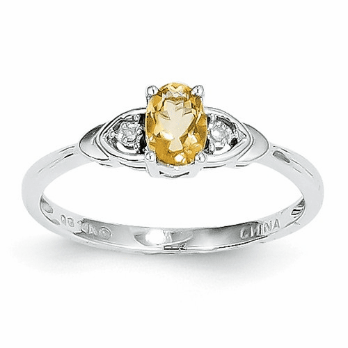 14k White Gold Citrine Diamond Ring Xbs248