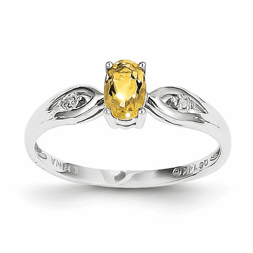 14k White Gold Citrine Diamond Ring Xbs320