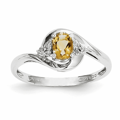 14k White Gold Citrine Diamond Ring Xbs392