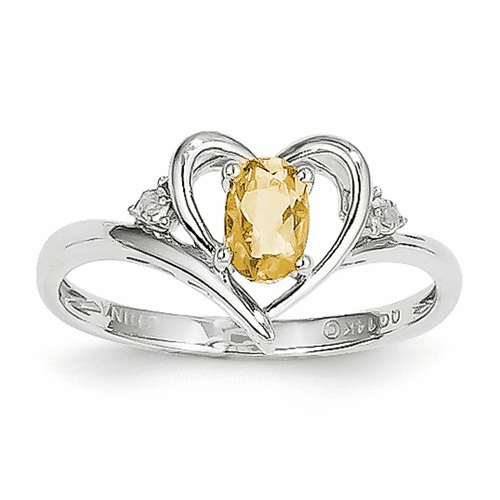14k White Gold Citrine Diamond Ring Xbs464