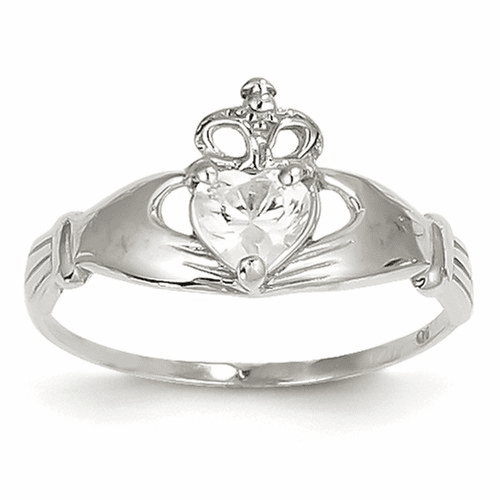 14k White Gold Cz April Birthstone Claddagh Heart Ring D1783