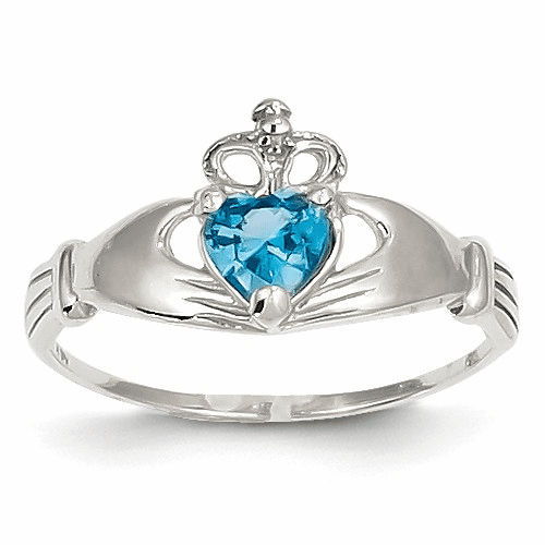 14k White Gold Cz December Birthstone Claddagh Heart Ring D1791