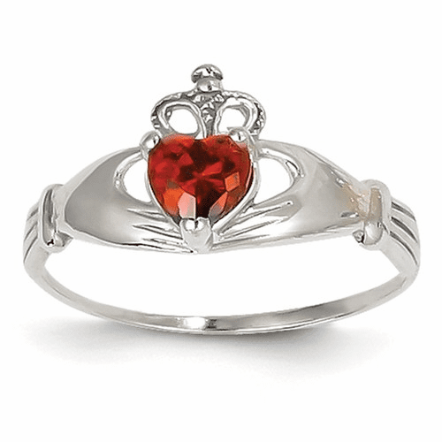 14k White Gold Cz January Birthstone Claddagh Heart Ring D1780