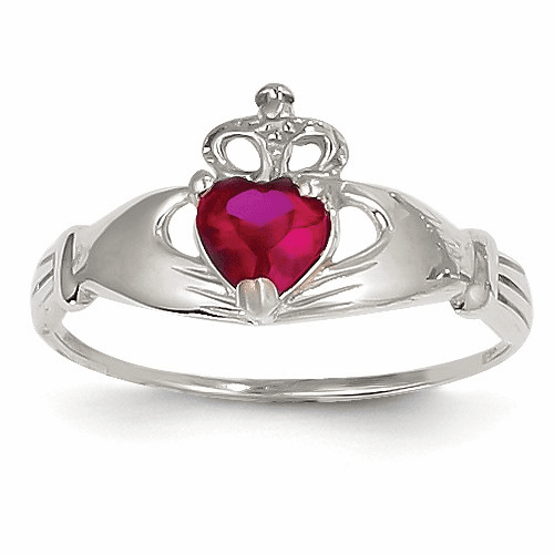 14k White Gold Cz July Birthstone Claddagh Heart Ring D1786