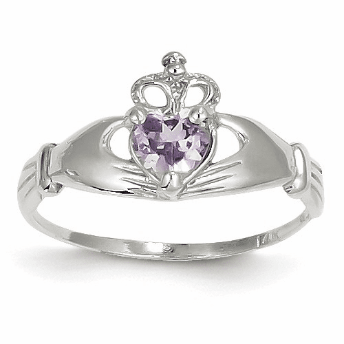 14k White Gold Cz June Birthstone Claddagh Heart Ring D1785