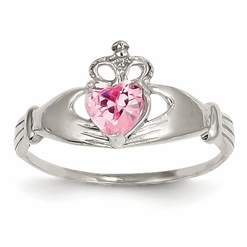 14k White Gold Cz October Birthstone Claddagh Heart Ring D1789