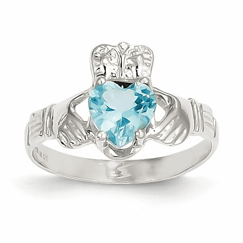 14k White Gold December Birthstone Claddagh Ring R510