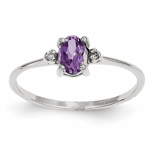 14k White Gold Diamond & Amethyst Birthstone Ring Xbr215