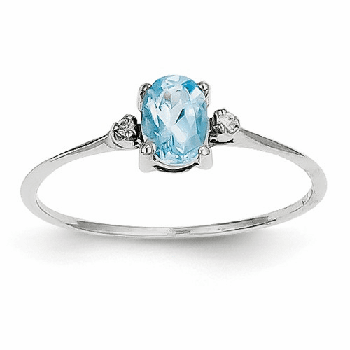 14k White Gold Diamond & Blue Topaz Birthstone Ring Xbr225