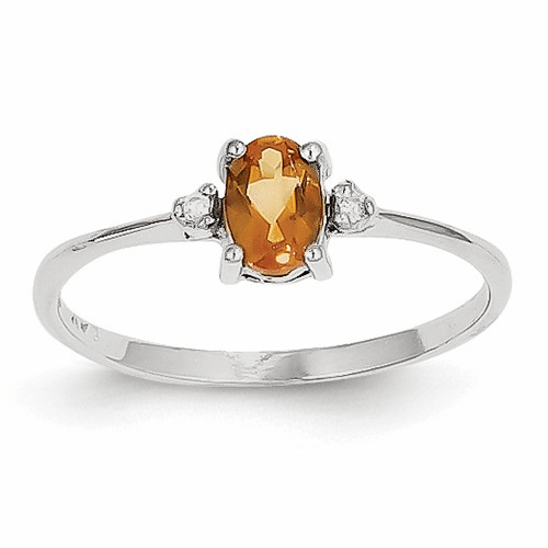 14k White Gold Diamond & Citrine Birthstone Ring Xbr224