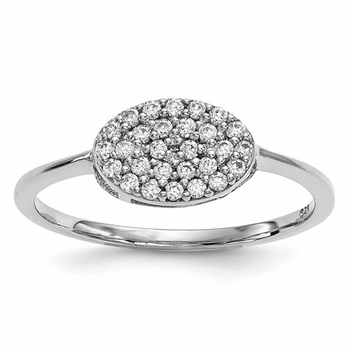 14k White Gold Diamond Cluster Oval Ring Y13741wa