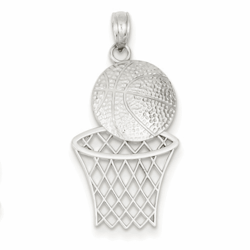 14k White Gold Diamond-cut Basketball & Hoop Pendant K4950