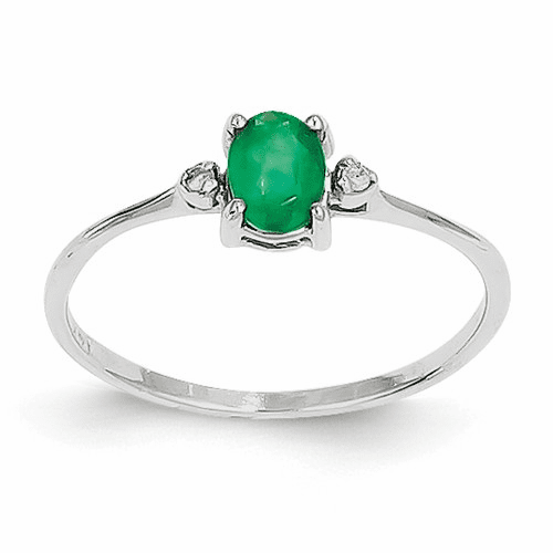 14k White Gold Diamond & Emerald Birthstone Ring Xbr218