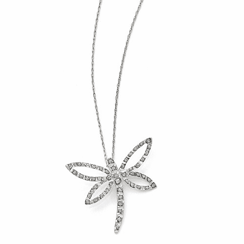 14k White Gold Diamond Fascination 18in Dragonfly Necklace Df103