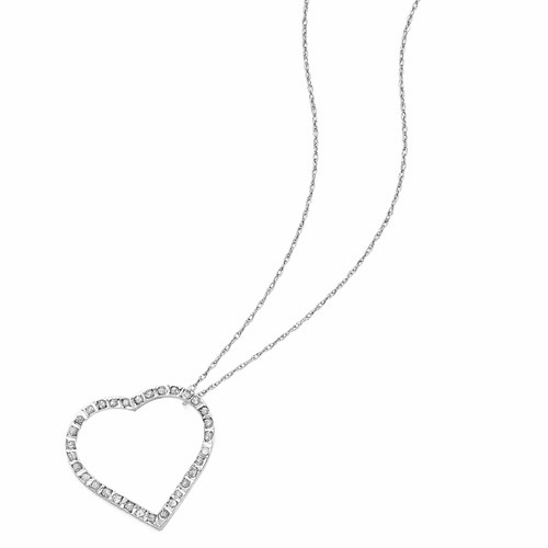 14k White Gold Diamond Fascination 18in Large Heart Necklace Df116