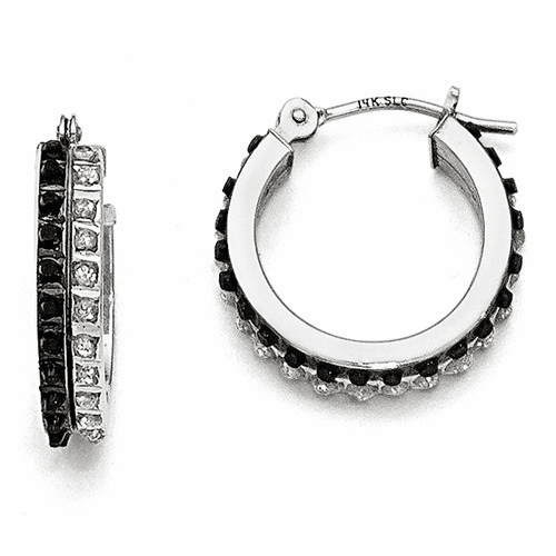14k White Gold Diamond Fascination B & W Diamond Hoop Earrings