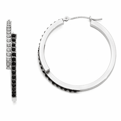 14k White Gold Diamond Fascination B/w Diamond Round Hoop Earrings
