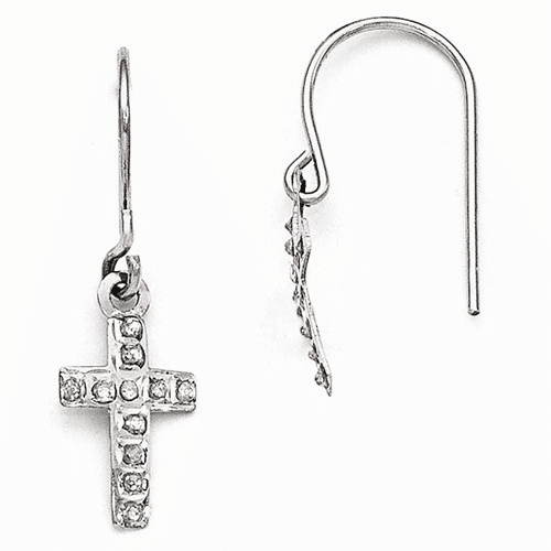 14k White Gold Diamond Fascination Cross Earrings Df267