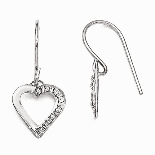 14k White Gold Diamond Fascination Heart Earrings Df261