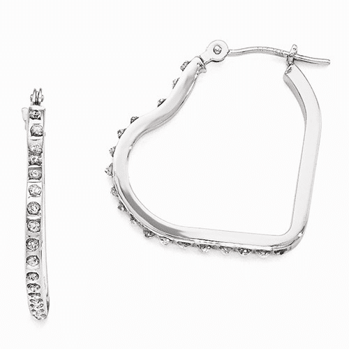 14k White Gold Diamond Fascination Heart Hinged Hoop Earrings Df259