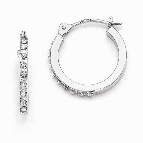14k White Gold Diamond Fascination Hinged Hoop Earrings Df176