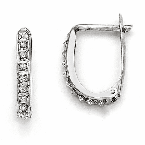 14k White Gold Diamond Fascination Leverback Hoop Earrings Df141
