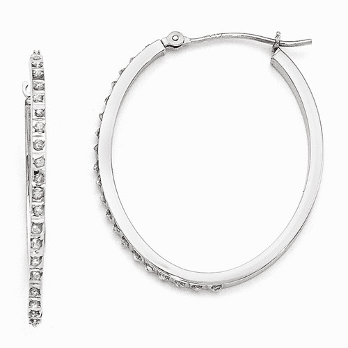 14k White Gold Diamond Fascination Oval Hinged Hoop Earrings Df106