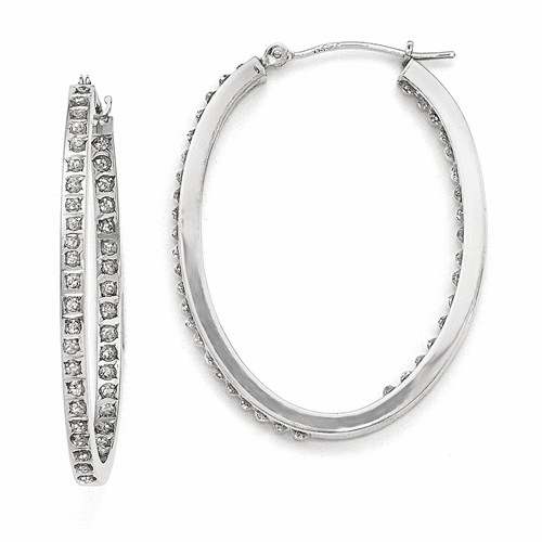 14k White Gold Diamond Fascination Oval Hinged Hoop Earrings Df238
