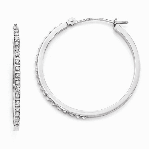 14k White Gold Diamond Fascination Round Hinged Hoop Earrings Df121