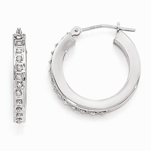 14k White Gold Diamond Fascination Round Hinged Hoop Earrings Df158