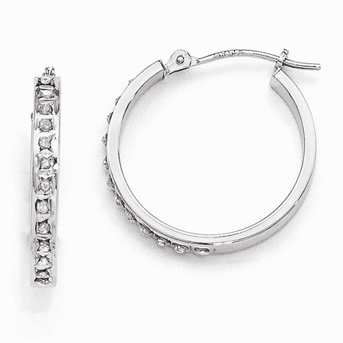 14k White Gold Diamond Fascination Round Hinged Hoop Earrings Df229