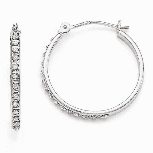 14k White Gold Diamond Fascination Round Hinged Hoop Earrings Df241