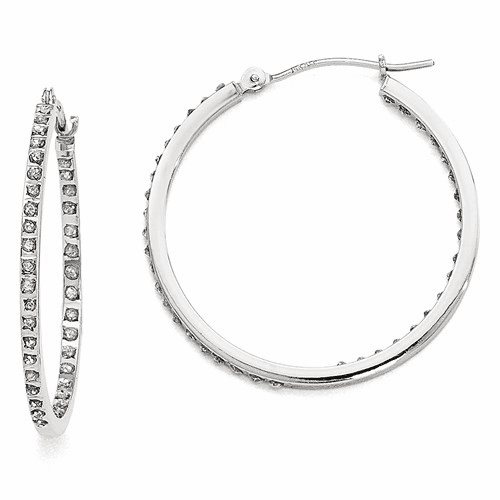 14k White Gold Diamond Fascination Round Hinged Hoop Earrings Df249