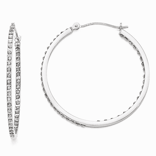 14k White Gold Diamond Fascination Round Hinged Hoop Earrings Df255