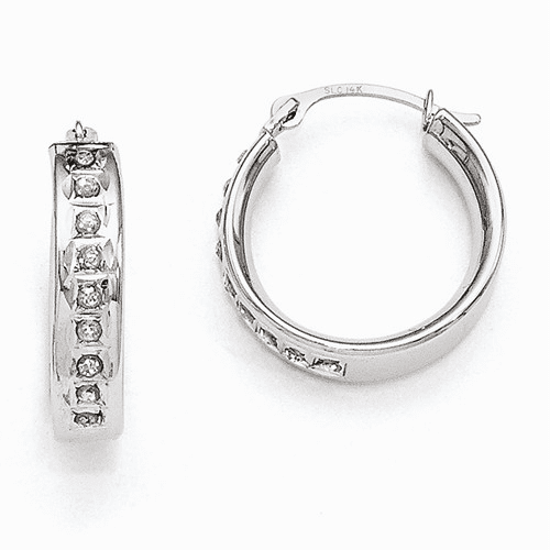 14k White Gold Diamond Fascination Round Hoop Earrings Df254