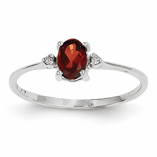 14k White Gold Diamond & Garnet Birthstone Ring Xbr214
