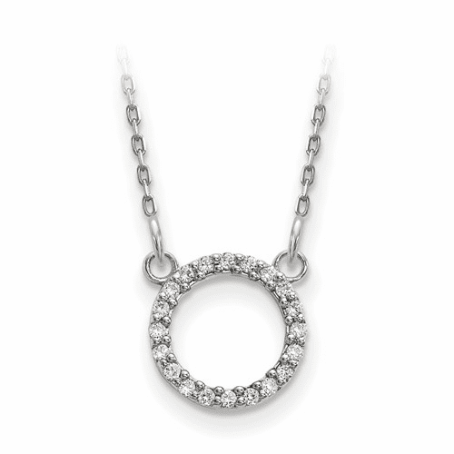 14k White Gold Diamond Open Circle Necklace Xp5027wa